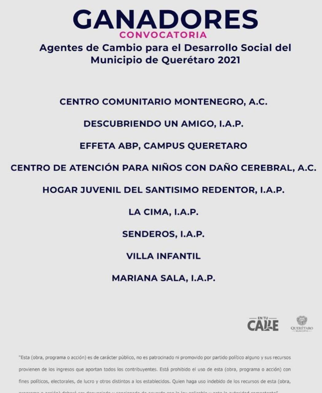 """Ganadores de Convocatoria """"Agentes de Cambio 2021"""""""