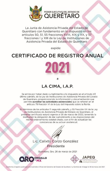 Obtuvimos el Certificado de Registro 2021